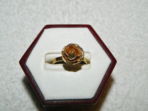 Emmons Goldtone 3D 3 Dimensional Rose Flower Adjustable Costume Ring