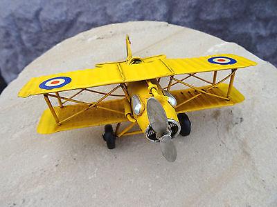 Flugzeug Blech Tiger Moth Doppeldecker gelb 1.Weltkrieg Retro Deko Geschenk Kult