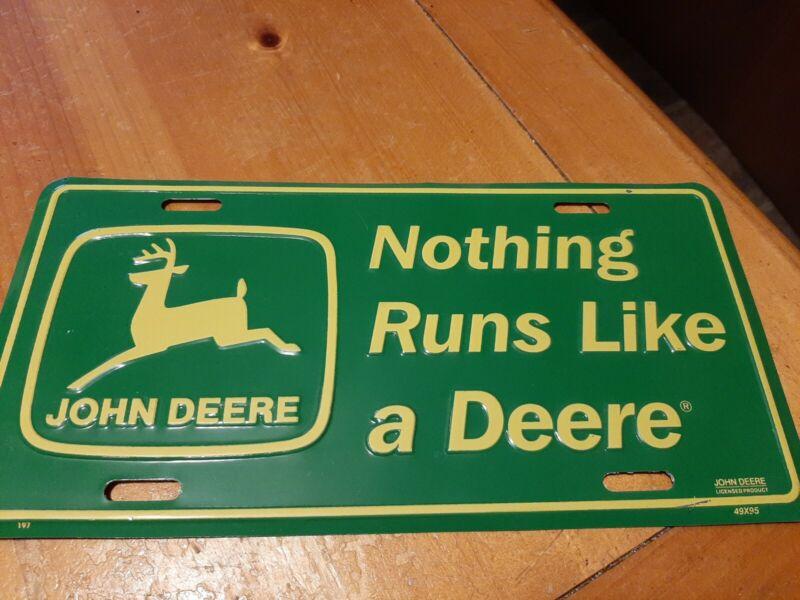 John Deere Official NOTHING RUNS LIKE A DEER Logo Embossed Metal License Plate