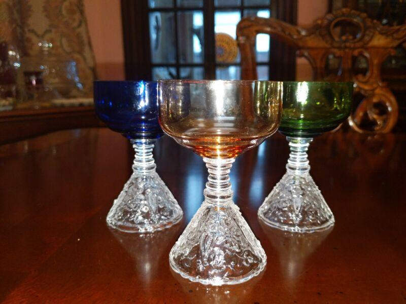 Cambridge Pressed Glass Rose Point Liquor Cocktail(s) Cobalt Green Amber