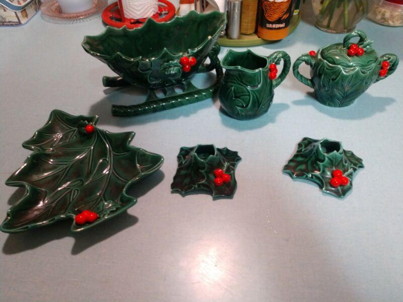 Lefton Ceramic Holly Holiday Tàbleware