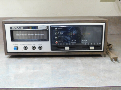Craig 3307 Stereo 8-Track Player/Stereo Recorder Vintage