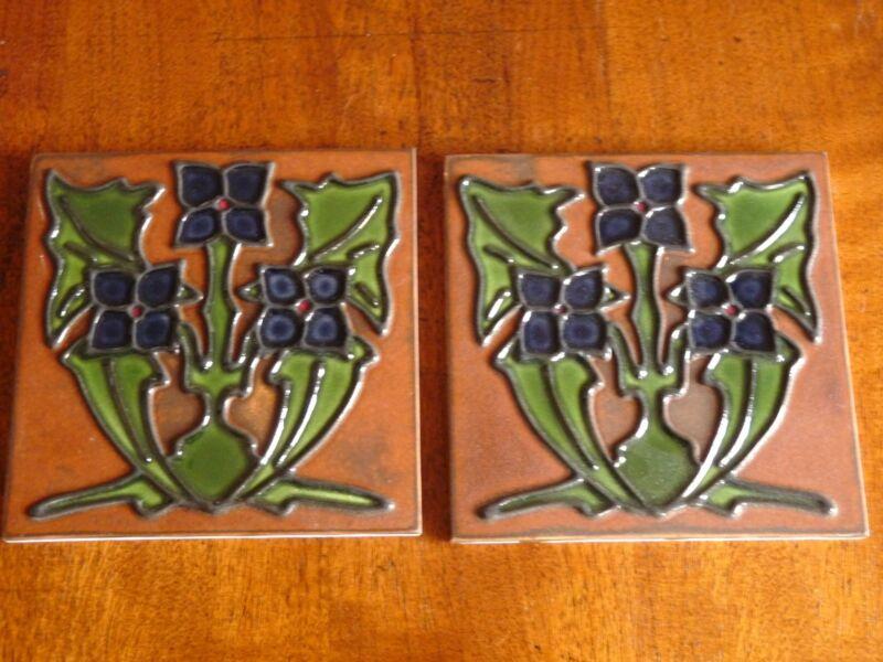 Pair of custom made Arts & Crafts / Art Deco Tiles