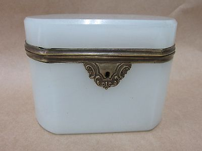 OLD VICTORIAN TEA CADDY ANTIQUE BRASS MOUNT ORNATE SCROLLED ESCUTCHEON