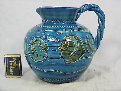 "Well shaped  Bitossi  design"" Rimimi blue "" pottery jug vase Keramik Krug Vase"