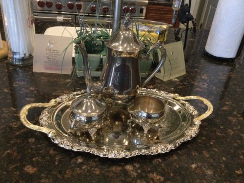 Gold Handled Silver Rose Trimmed Serving Tray w/CoffeePot/Creamer/Sugar