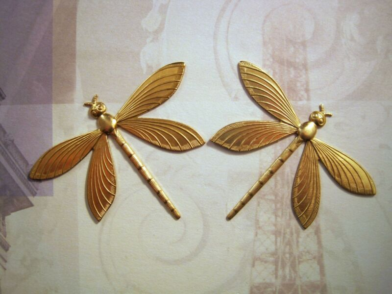 Large Raw Brass Dragonfly Stamping (2) - RAT6907