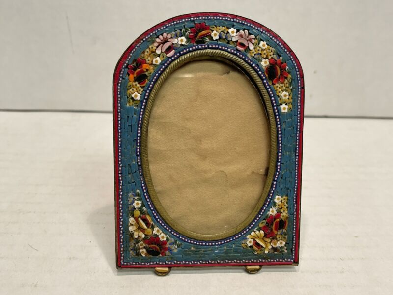 Antique Italian Micro Mosaic Floral Decorated Bronze Picture Frame, #784