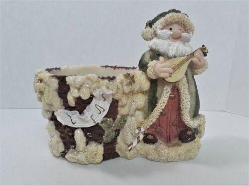Santa Planter Resin  Santa Playing Mandolin *203