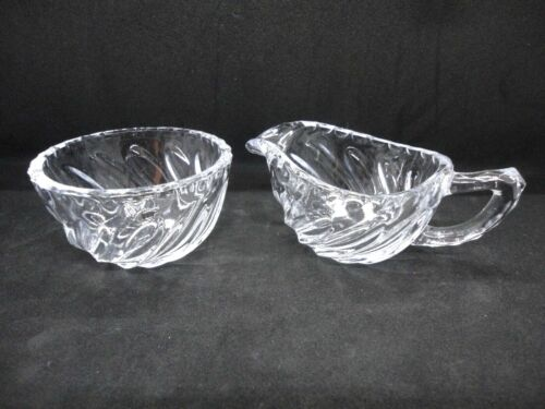 """Vintage Fostoria COLONY Glass Creamier and Open Sugar Bowl Swirl Fluted 3"""" dia"""