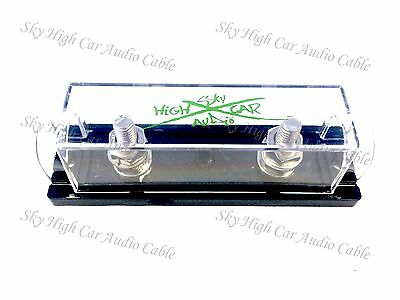 Sky High Car Audio Ring Terminal Anl Fuse Holder Green Logo Nickel Plated