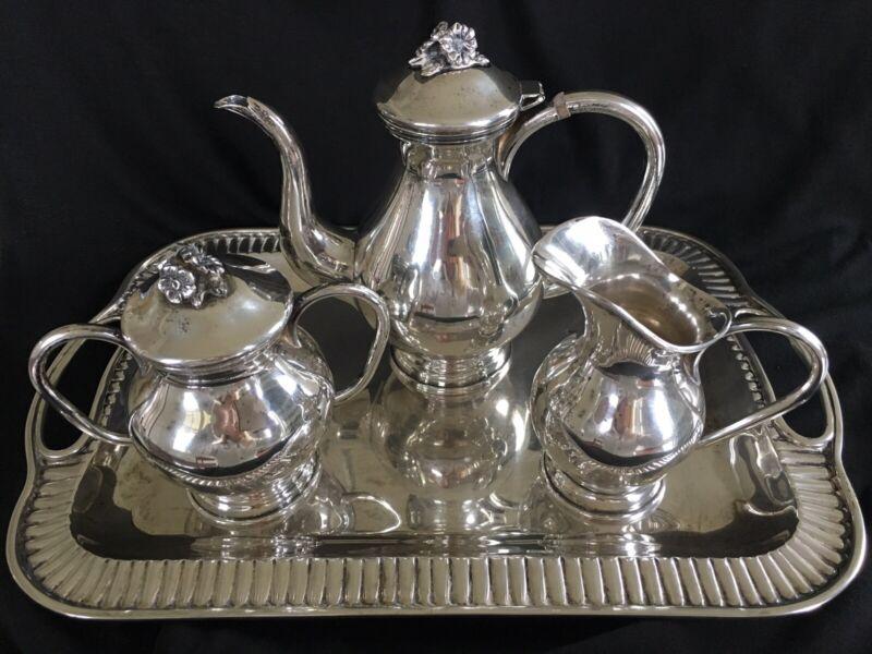 "Pretty Vintage 900 Silver Tea Set Coffee Set Colombian ""Florentina"" | 4 Pieces"