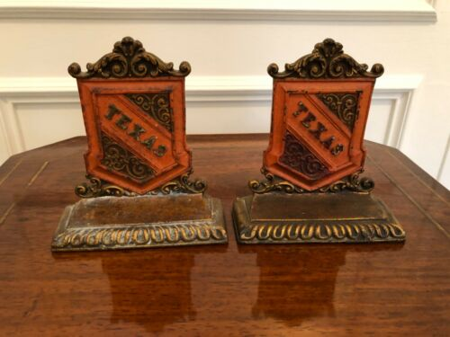 """PAIR ANTIQUE VINTAGE SOLID BRONZE PAINTED """"TEXAS"""" BOOKENDS"""