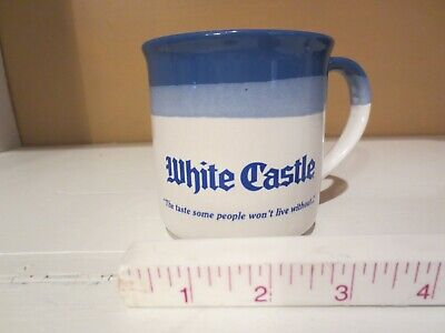 Vintage 1980s White Castle Blue Ceramic Coffee Mug Cup Restaurant Diner Burger