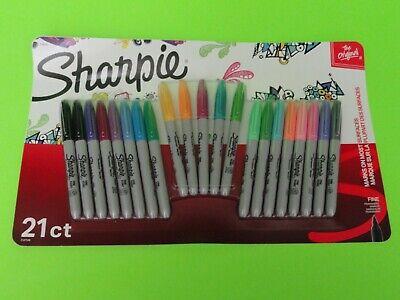New-21 Count Pack- Sharpie Vivid Neon Original Fine Point Permanent Markers