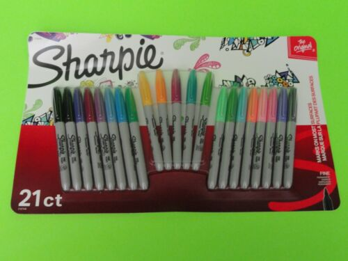 NEW-21 Count Pack- SHARPIE Vivid + Neon Original Fine Point Permanent Markers