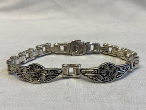 2003 Harley Davidson 100 Yr Anniversary Sterling Silver Chain Bracelet 39.36g