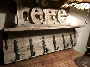 Gorgeous Rustic Barn Board Shelf cw 6 Hooks