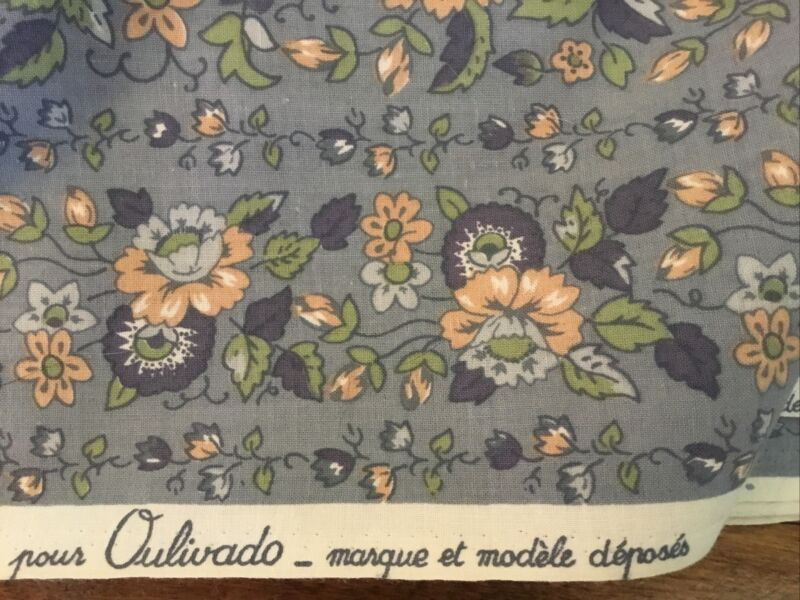 "vtg Pierre Deux blue fabric floral french 9 yds olivades cotton yardage ""Braio"""