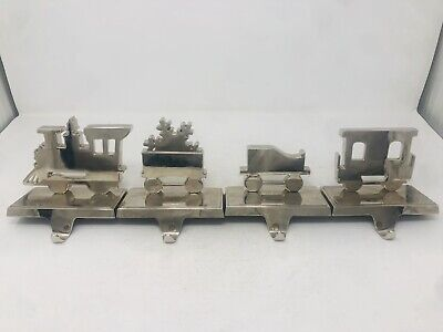 Silver Metal Train and Snowflake Car Carts Christmas Stocking Holders Set Of 4