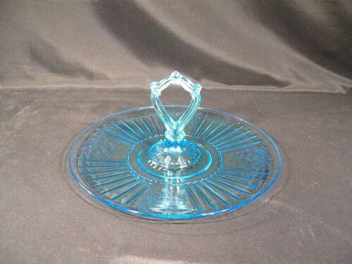 "Anchor Hocking Mayfair ""Open Rose""  Blue Center Handled Tray"