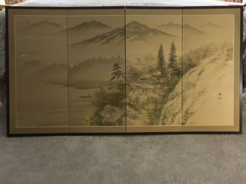 HUGE CHINESE 4PANEL SCREEN MOUNTAIN LANDSCAPE HANDPAINTED SILK AUTHENTIC SIGNED