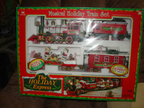 NEW BRIGHT MUSICAL HOLIDAY TRAIN SET WITH 4 BONUS PINE TREES - CHRISTMAS