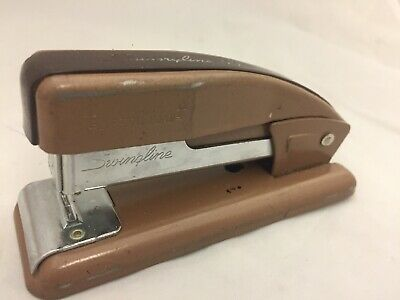 Vtg Swingline 99 Brown Retro Desktop Stapler Art Deco Mc Usa