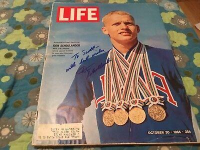 DON SCHOLLANDER SIGNED 1964 LIFE MAGAZINE/ 4x OLYMPIAN CHAMPION/ TOKYO GAMES