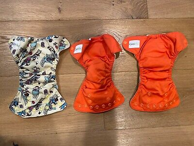 Lot of 3 Grovia Newborn Diapers All In One; gently used great way to try cloth!