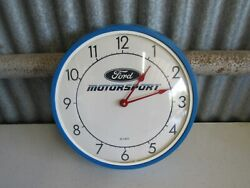 Ford Motorsport Classic Blue Wall Clock 14 Diameter Nice Condition