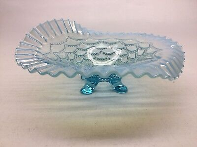 Vintage Jefferson Glass Blue Opalescent Ruffled Edge Beaded Drape Footed Bowl