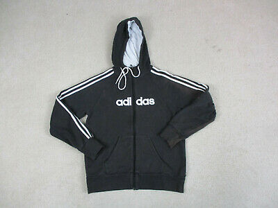 Adidas Sweater Adult Small Black White Spell Out Stripes Hoodie Pullover Mens *