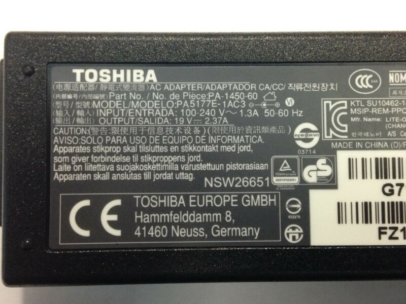 New TOSHIBA PA-1450-60 laptop ac adapter replacement charger