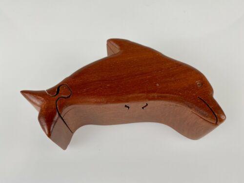 "5"" Dolphin Puzzle Trinket Wooden w/ Velvet Interior Secret Compartment Box"