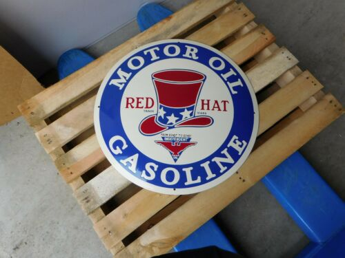 RED HAT Motor Oil Gasoline Tire Gas Vintage Garage Dealer Porcelain Enamel Sign