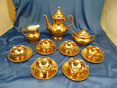Vtg Gold Demitasse set 17 pc pot creamer sugar 6 cups saucers tea espresso art