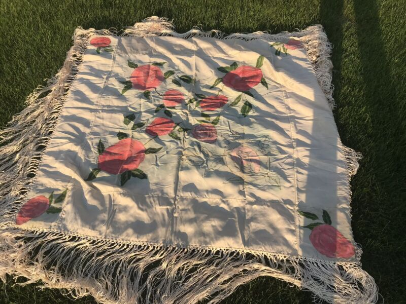 Vtg Hand Painted Piano Shawl Cape Cloth Floral Silk Square Scarf