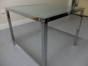 4 seater glass and steel dining table Fitzroy North Yarra Area Preview