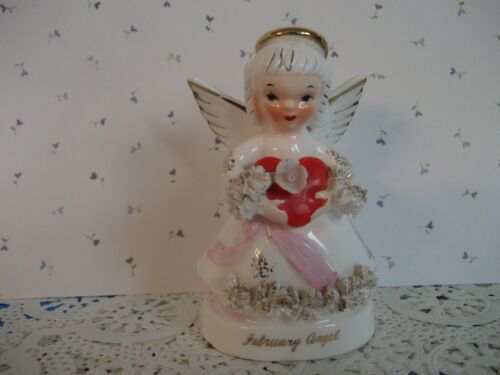 """Vtg. Napco """"To My Valentine"""" Angel holds Red Heart figurine~gold halo~sweet!"""