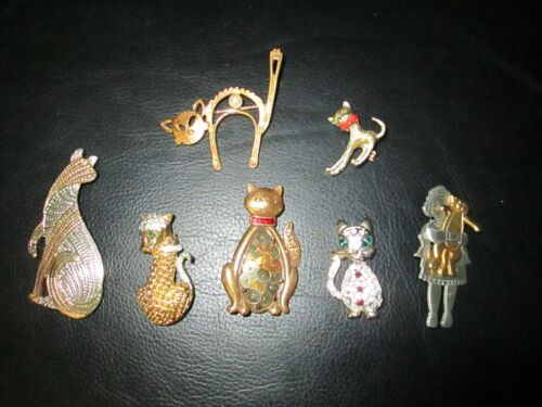 Lot of 7 Vintage Unique Cat Kitten Pins with Jewels Gold Tone Metal Rhinestones