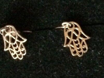 1 PAAR einzigartige Ohrringe Hänger FATIMA Hände 925er Silber vergoldet