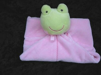 Carters Precious Firsts Green Frog Pink Adorable Security Blanket Lovey Rattle