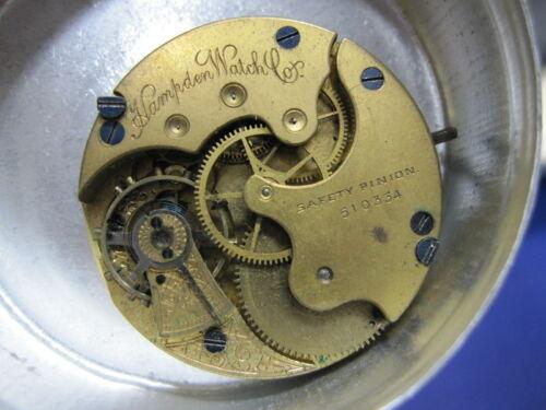 6s Hampden LS HC pocket watch movement w good staff