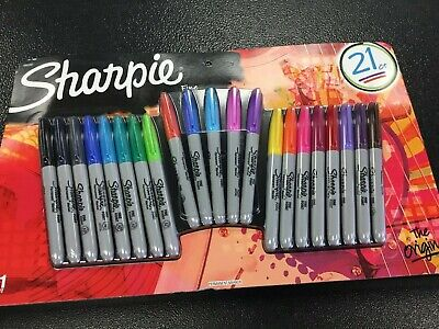 Sharpie Permanent Markers Fine Point Assorted Colors Set Of 21