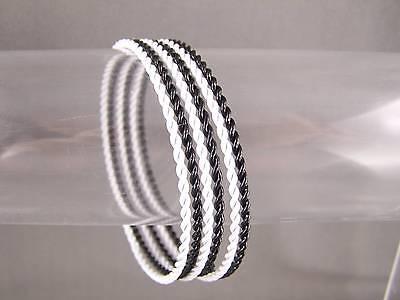 (Black White set pack of 6 twist metal thin skinny narrow bangle bracelet twisted)