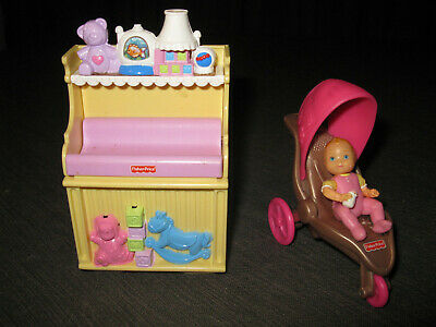 FISHER PRICE Loving Family Dollhouse MUSICAL CHANGING TABLE Baby & Stroller Lot