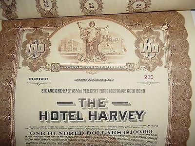 Hotel Harvey $100 Bond Stock Certificate Chicago Illinois