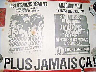 Vintage Worn French Socialist International Poster La Front National Never Again