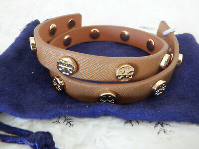 Tory Burch Double Wrap Logo Stud Royal Tan Saffiano Leather Bracelet New Tags